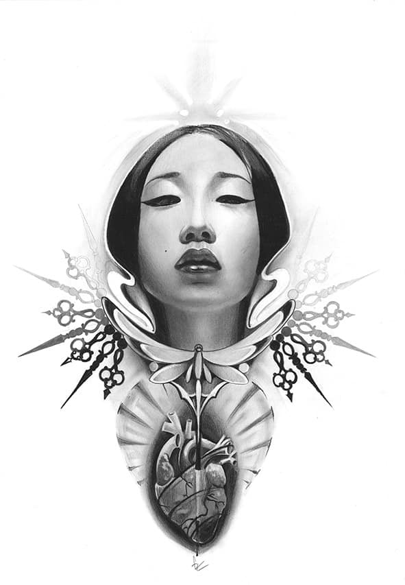 Giulio Canepa Art Disegni Cuore Geisha