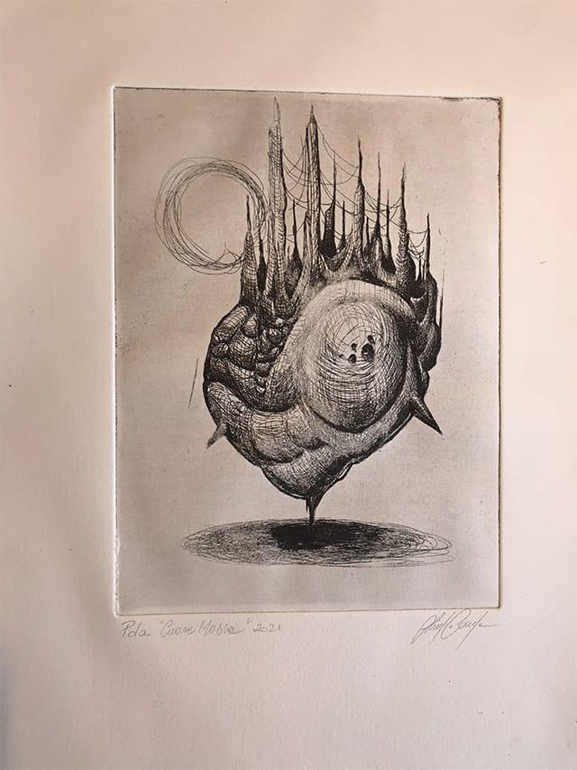 Giulio Canepa Art Incisione Cuore Mosca 01
