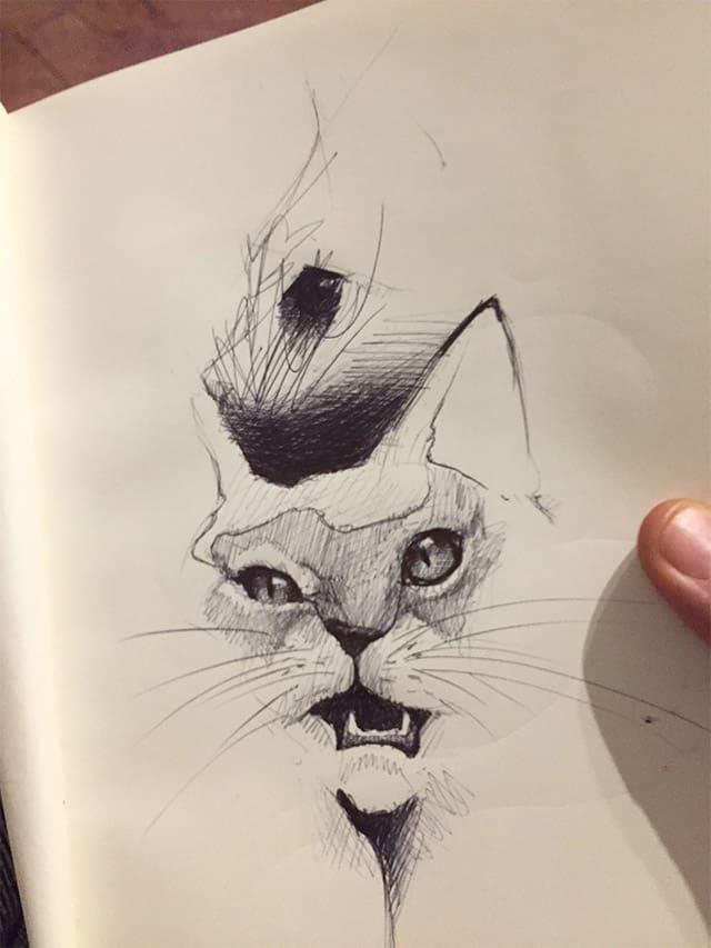 Giulio Canepa Art Sketch Cat Sketch