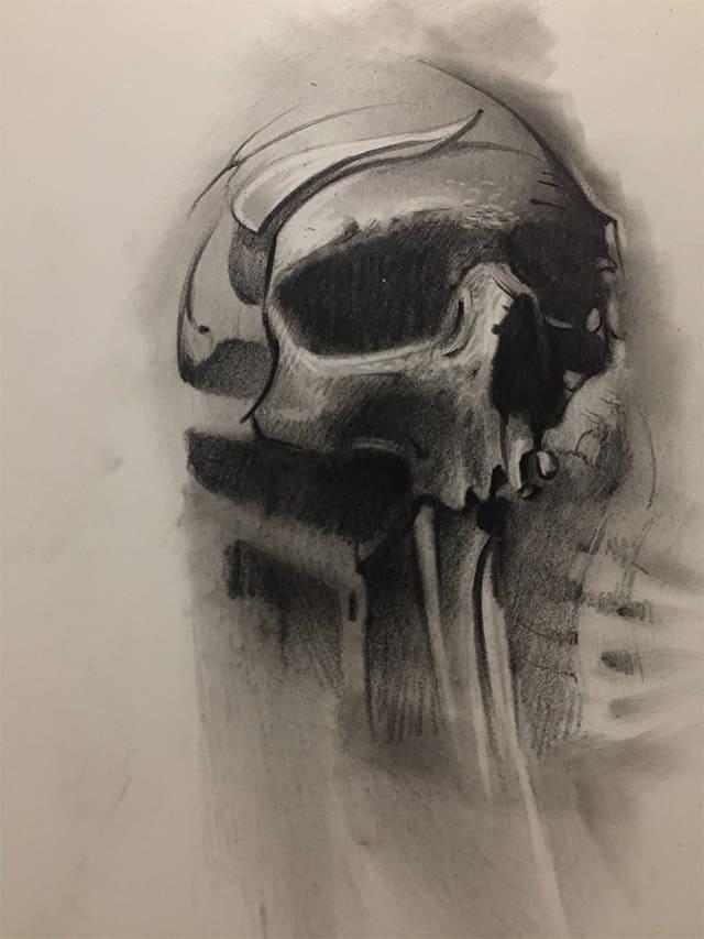 Giulio Canepa Art Sketch Skull Teschio Disorder