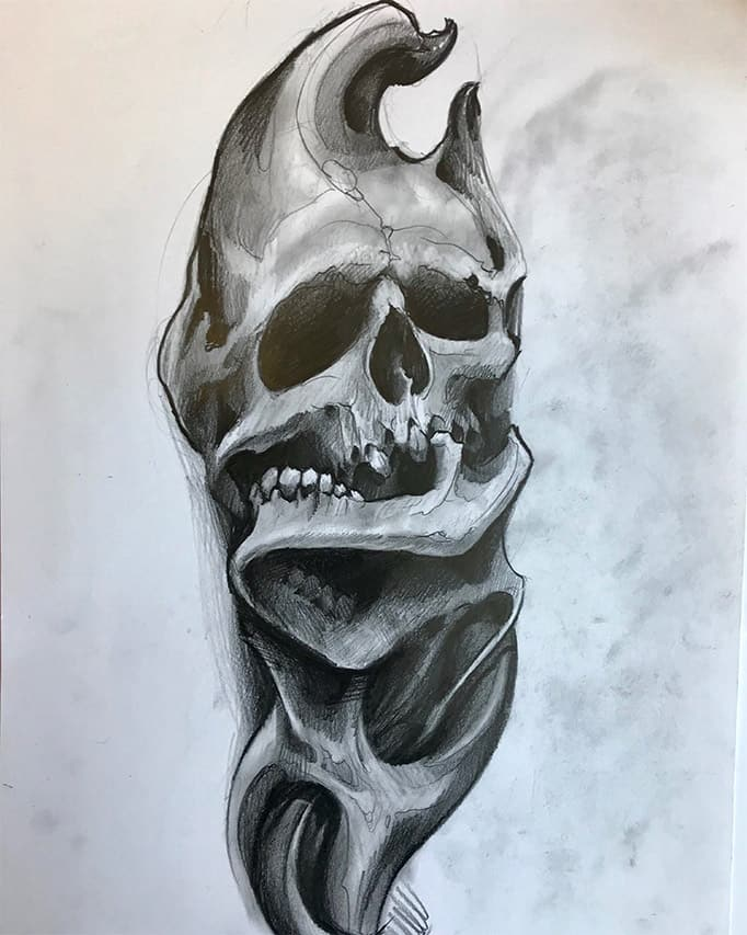 Giulio Canepa Art Sketch Skull Teschio Muson