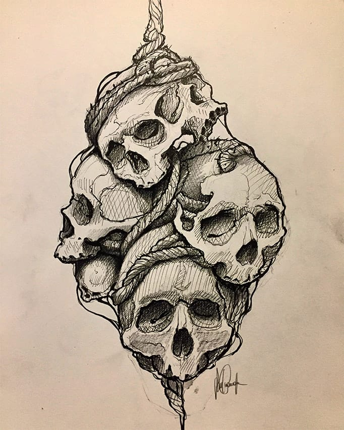 Giulio Canepa Art Sketch Teschi