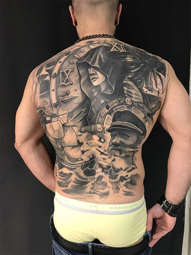 Giulio Canepa Tattoo Back Piece Pirata