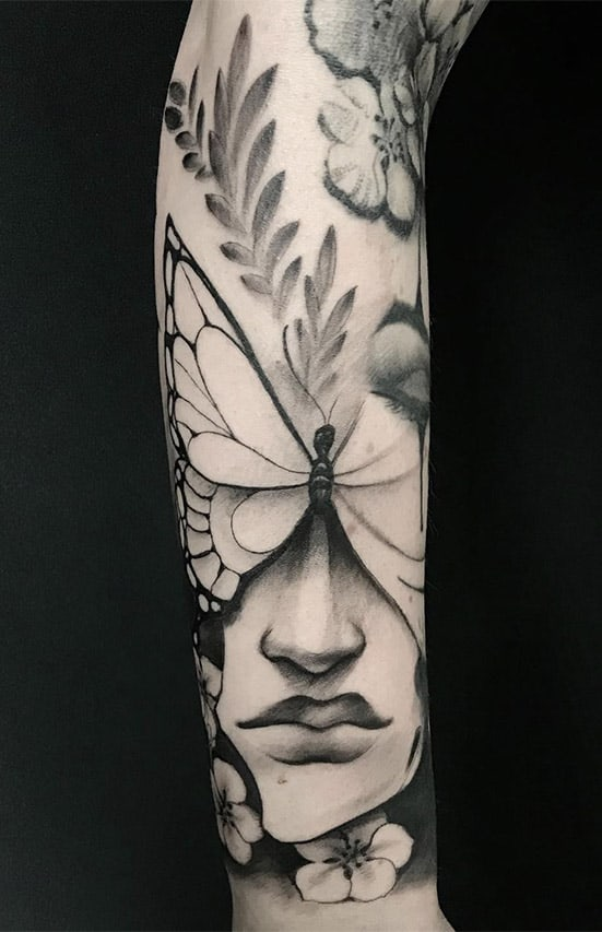 Giulio Canepa Tattoo Face Butterfly
