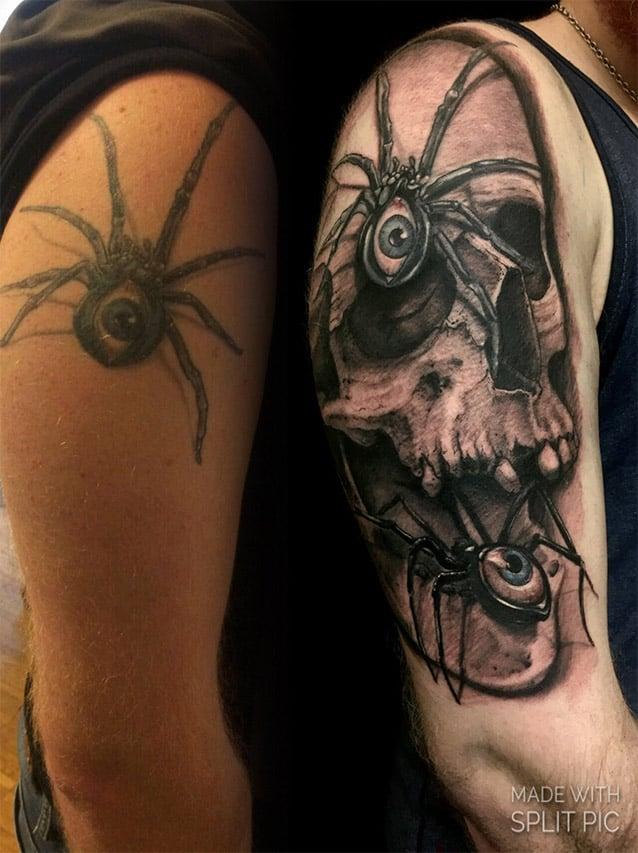 Giulio Canepa Tattoo Skull Spider
