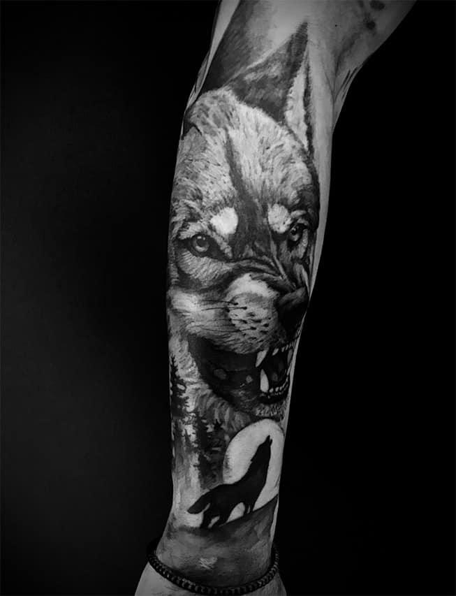 Giulio Canepa Tattoo Wolf Arm